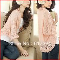 Slim knit shirt sunscreen clothing jacket hollow bat sleeve knit shirt cape coat conditioning