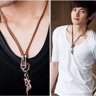 Male necklace flame titanium steel male necklace pendant Men necklace male necklace fashion