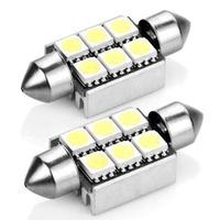 36mm 3 leds SMD 5050 White Festoon Dome Map Light Bulbs Car LED Light Bulb Lamp Free Shipping