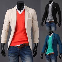 Free Shipping 2013 New Arrive Men's Sexy Leisure Blazer Jacket,3 Colors And Size M/L/XL/XXL,Wholesale+Hot Sale.