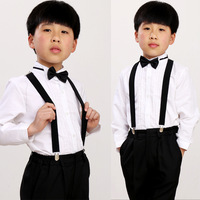 Flower girl child costume formal dress male child performance wear suspenders set