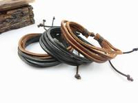 fashion black and brown Adjustable Bracelets Hemp unisex leather plait bracelet Leather rope bangle