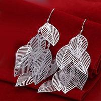 E214 Wholesale ! Wholesale 925 silver earrings, 925 silver fashion jewelry, Gloss Leaf Earrings
