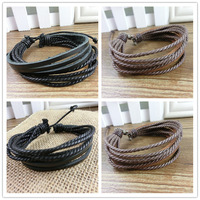 Special fashion 2 black and brown Bracelets Hemp Adjustable unisex leather plait bracelet  bangle