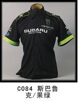Free Shipping Car work wear automobile race work wear SUBARU emblem black summer short-sleeve shirt