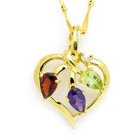 Jewelry 925 silver gold plated garnet amethyst peridot pendant