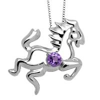 Zodiac 925 silver amethyst horse pendant horse
