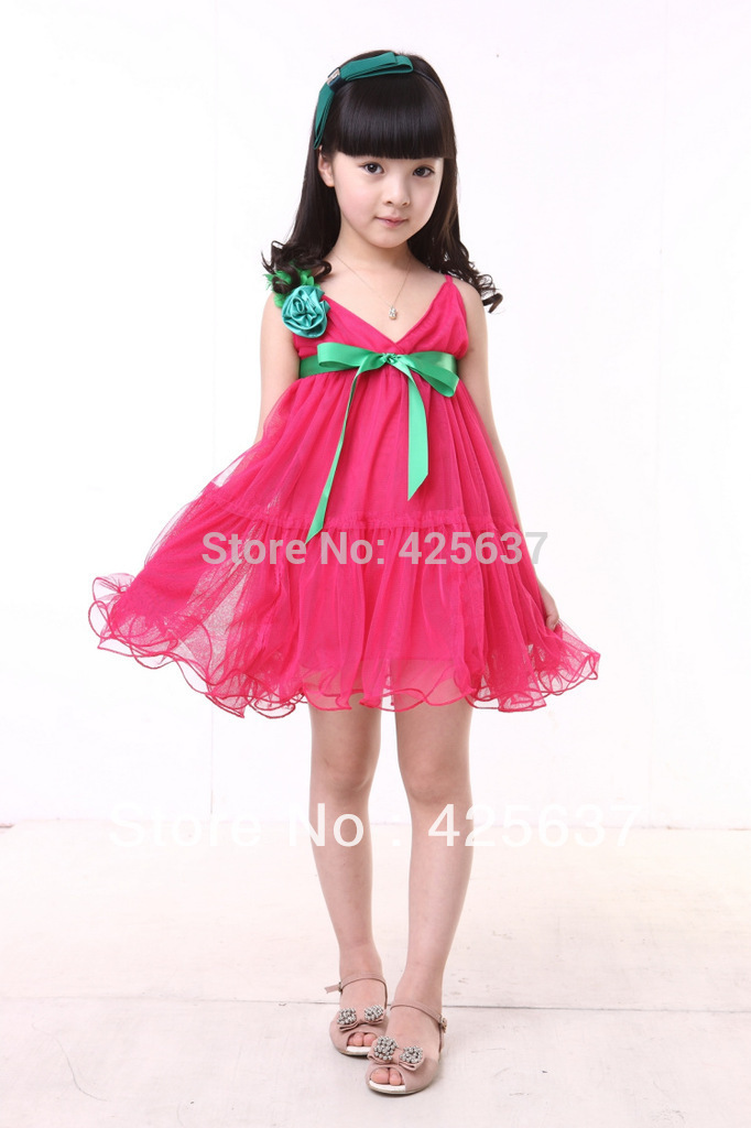 dresses girls Free-Shpping-Rose-Re
