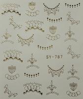 20pcs/lot Bk nail art watermark applique finger water transfer printing watermark metal stickers gold t series  free shipping