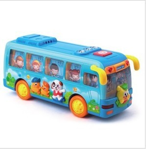 free shipping,Joy happy acoustic control shake school campus bus, universal direction car, speech function with lights  toys
