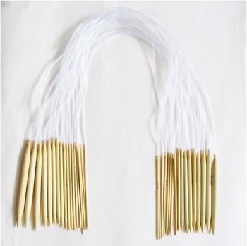 "18 Pairs 32""80cm Circular Smooth Bamboo Knitting Needles Sets 2.0mm-10mm Size 05010"