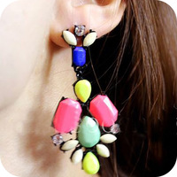 Min.order is $10(mix order)Free shipping!Fashion vintage  acrylic rhinestone neon multicolour stud earring