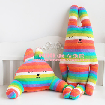 Hot selling CRAFT Colorful Rainbow Bunny plush dolls L size home plush kids gifts pillow free shipping