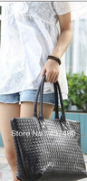 wholesale retail popular black knited totes PU leather shoulder bag sling Handbag Designer Lady girl's Fashion
