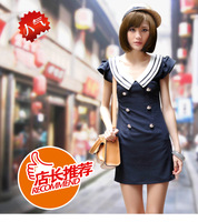 Hot-selling navy style slim preppy style chiffon short-sleeve slim hip one-piece dress