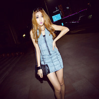 Summer tight plus size denim skirt slim hip sexy strapless V-neck denim one-piece dress female