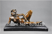 Christmas Promotion Free Shipping  Erotic Sculpture bronze woman art  antiques czs-294