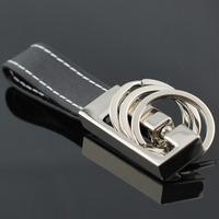 M84032 Detachable 3 Loops Black through Waist Belt Leather Strap Keyring Keychain Key Chain Ring Keyfob