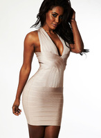 Free Shipping hl Bandage Evening Dresses For 2013, Sexy Celebrity Sleeveless Halter Deep V Bodycon For Summer Party