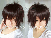 kk 0091 Vogue short Brown straight cosplay men's hair full wig/wigs festival gift