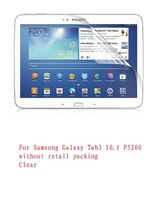 Clear !! For Samsung Galaxy Tab 3 10.1 P5200 Clear Screen Protector guard film without Retail Package 100pcs/lot