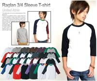 Baseball shirt 7 horn shirt raglan sleeve t 100% cotton casual fashion men multicolor