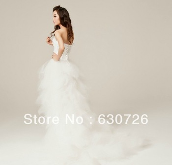 Wedding Decoration Feather Wedding Dress Short Front Long Back Mermaid Dress Lace Church Blackless Dress Bridal Wedding Gown 039