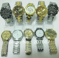 free shipping 10pcs/lot mixed Popular Round black white gold face Dial Men Man Male Analog Quartz Business Gift Wrist Watches