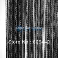 Holiday Sale 300cm*300cm Window String Curtain String Panel Fringe Panel Room Divider Wedding Drapery Black 16633
