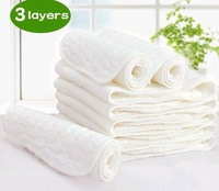Free Shipping,30pcs/lot,3 layers 0 seconds absorb water High quality health cotton/Baby diaper/Baby nappy Match Cloth Diaper