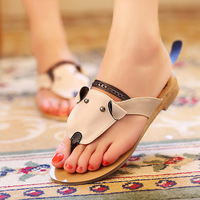 Sweet 2013 women's shoes cow muscle flat heel outsole flat cartoon dog herringbone slippers