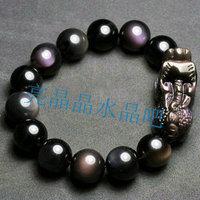 Ice species obsidian beads pi xiu bracelet long Men