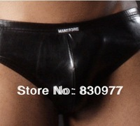 n2n Men's underwear Coat of paint Low waist Pouch Sexy T pants Briefs men sexy leather lingerie erotic panties