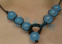 Blue chalcedony necklace elegant fashion chinese style national classical trend