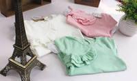 TS3065  free shipping Fashion 100% Cotton Inclined Chest Ruffles Long Sleeve Girls T Shirt / Shirts / Blouse