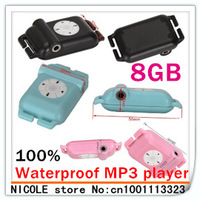 NEW 100% Waterproof MP3 Player IPX8 8GB Music player for Swimming +Running +Surf +sports Best gift for kid(balck white pink blue