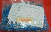 Wholesale ROHS  high voltage Ceramic Disc Capacitors 222PF 2KV 222M P5mm