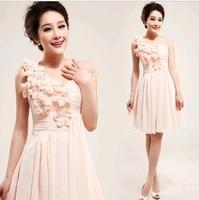 Chiffon Bridesmaid Dresses pink flower Bridesmaid Dress one Shoulder . Short design. wholesale dress  cc7502