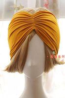 Elegant Vintage turmeric women Headbands Turban elastic cotton hairbands Bandanas Spring