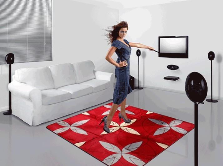 185 185cm Geometric Pattern Red Velvet Carpet Soft Smooth Living Room Coffee