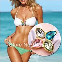 Cheap wholesale, pure color sexy show thin crystal triangle Siamese women's bikini/gift/summer beach/free shipping