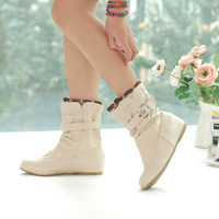 2012 women's spring and autumn shoes princess shoes soft leather boots round toe flat elevator boots