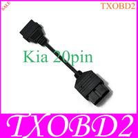 2013 Best Quality Cables and Connectors 20 CM KIA 20Pin To OBD2 16PIN Cable for OBD Diagnostic Tools- HKP Free Shipping