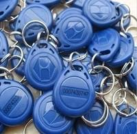 Free shipping 100pcs 125Khz em keyfob RFID Proximity ID EM4305 Keyfobs with Metal Ring