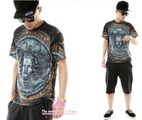 Hot-selling summer fashion short-sleeve tees for men cool personality medusa snake virgin mary print vintage t shirt M-L-XL