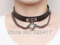 2013 fashion girl choker cool leather necklace goth punk rock love chain adjustable necklace stylish  hip pop necklace