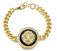 Min Order $10(Can Mix Item)Rihanna Celebrity Jewelry Round Lion Head Queen Of The Jungle Chain Link Bracelet Gold And Black