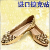 Fashion rhinestone wedges 2013 flat-bottomed single shoes casual shoes flat heel pointed toe shoes female