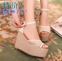 2013 sexy cutout lace open toe jelly shoes ultra high heels wedges platform women's shoes sandals