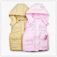 Girls' Cute Mouse Cartoon Vest Children's Cotton-padded Waistcoat Zhilet Zhiletka 9008 Sunlun Russian Support Free Shipping 2013